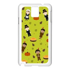 Pilgrims And Indians Pattern   Thanksgiving Samsung Galaxy Note 3 N9005 Case (white) by Valentinaart