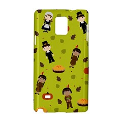 Pilgrims And Indians Pattern   Thanksgiving Samsung Galaxy Note 4 Hardshell Case by Valentinaart