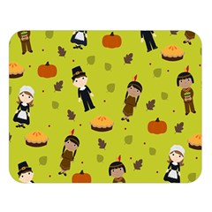 Pilgrims And Indians Pattern   Thanksgiving Double Sided Flano Blanket (large)  by Valentinaart