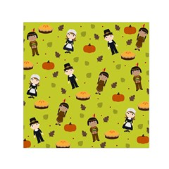 Pilgrims And Indians Pattern   Thanksgiving Small Satin Scarf (square) by Valentinaart