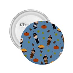 Pilgrims And Indians Pattern   Thanksgiving 2 25  Buttons by Valentinaart