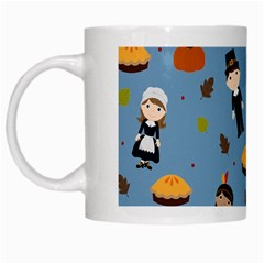 Pilgrims And Indians Pattern   Thanksgiving White Mugs by Valentinaart