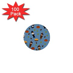Pilgrims And Indians Pattern   Thanksgiving 1  Mini Buttons (100 Pack)