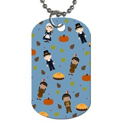 Pilgrims And Indians Pattern   Thanksgiving Dog Tag (two Sides) by Valentinaart