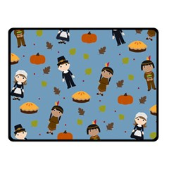 Pilgrims And Indians Pattern   Thanksgiving Fleece Blanket (small) by Valentinaart