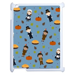 Pilgrims And Indians Pattern   Thanksgiving Apple Ipad 2 Case (white)