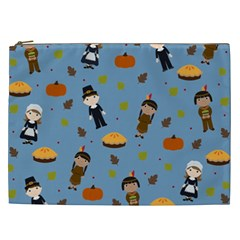 Pilgrims And Indians Pattern   Thanksgiving Cosmetic Bag (xxl)  by Valentinaart