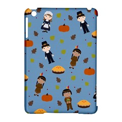 Pilgrims And Indians Pattern   Thanksgiving Apple Ipad Mini Hardshell Case (compatible With Smart Cover) by Valentinaart