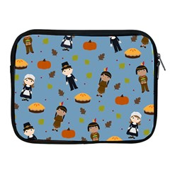 Pilgrims And Indians Pattern   Thanksgiving Apple Ipad 2/3/4 Zipper Cases by Valentinaart