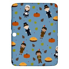 Pilgrims And Indians Pattern   Thanksgiving Samsung Galaxy Tab 3 (10 1 ) P5200 Hardshell Case  by Valentinaart