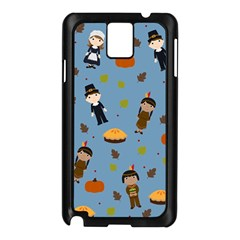 Pilgrims And Indians Pattern   Thanksgiving Samsung Galaxy Note 3 N9005 Case (black) by Valentinaart