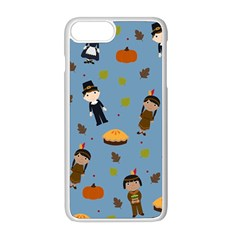 Pilgrims And Indians Pattern   Thanksgiving Apple Iphone 8 Plus Seamless Case (white)