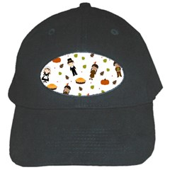 Pilgrims And Indians Pattern   Thanksgiving Black Cap by Valentinaart