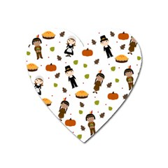 Pilgrims And Indians Pattern   Thanksgiving Heart Magnet