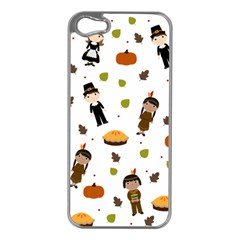 Pilgrims And Indians Pattern   Thanksgiving Apple Iphone 5 Case (silver) by Valentinaart