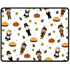 Pilgrims And Indians Pattern   Thanksgiving Double Sided Fleece Blanket (medium)  by Valentinaart