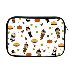 Pilgrims And Indians Pattern   Thanksgiving Apple Macbook Pro 17  Zipper Case by Valentinaart