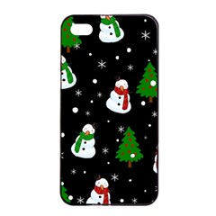 Snowman Pattern Apple Iphone 4/4s Seamless Case (black) by Valentinaart