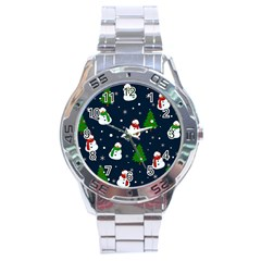 Snowman Pattern Stainless Steel Analogue Watch by Valentinaart