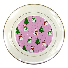 Snowman Pattern Porcelain Plates by Valentinaart