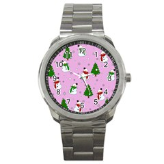 Snowman Pattern Sport Metal Watch by Valentinaart