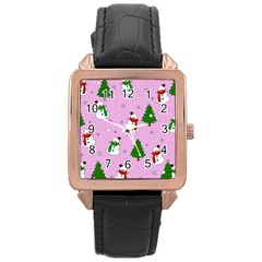 Snowman Pattern Rose Gold Leather Watch