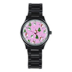Snowman Pattern Stainless Steel Round Watch by Valentinaart