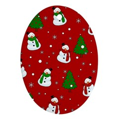 Snowman Pattern Ornament (oval) by Valentinaart