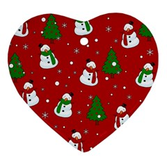 Snowman Pattern Heart Ornament (two Sides) by Valentinaart
