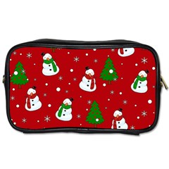 Snowman Pattern Toiletries Bags 2 Side by Valentinaart
