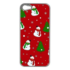Snowman Pattern Apple Iphone 5 Case (silver) by Valentinaart