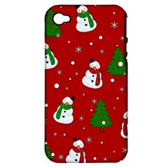 Snowman Pattern Apple Iphone 4/4s Hardshell Case (pc+silicone)