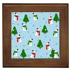 Snowman Pattern Framed Tiles by Valentinaart
