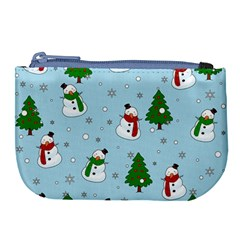 Snowman Pattern Large Coin Purse by Valentinaart