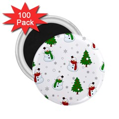 Snowman Pattern 2 25  Magnets (100 Pack)  by Valentinaart