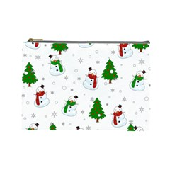 Snowman Pattern Cosmetic Bag (large)