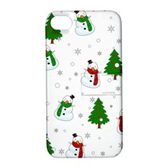 Snowman Pattern Apple Iphone 4/4s Hardshell Case With Stand by Valentinaart