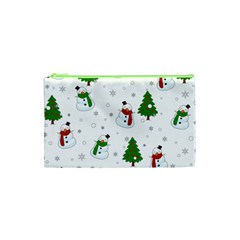 Snowman Pattern Cosmetic Bag (xs) by Valentinaart