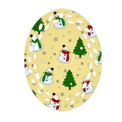 Snowman Pattern Ornament (oval Filigree)