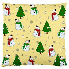 Snowman Pattern Large Flano Cushion Case (two Sides)