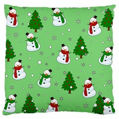 Snowman Pattern Large Flano Cushion Case (one Side) by Valentinaart