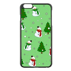 Snowman Pattern Apple Iphone 6 Plus/6s Plus Black Enamel Case by Valentinaart