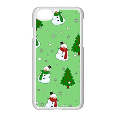 Snowman Pattern Apple Iphone 7 Seamless Case (white) by Valentinaart