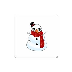 Kawaii Snowman Square Magnet by Valentinaart