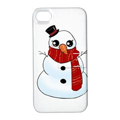 Kawaii Snowman Apple Iphone 4/4s Hardshell Case With Stand by Valentinaart