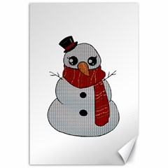 Kawaii Snowman Canvas 24  X 36  by Valentinaart