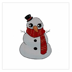 Kawaii Snowman Large Satin Scarf (square) by Valentinaart