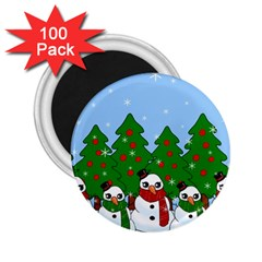 Kawaii Snowman 2 25  Magnets (100 Pack)  by Valentinaart