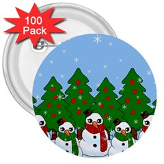 Kawaii Snowman 3  Buttons (100 Pack)  by Valentinaart