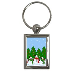 Kawaii Snowman Key Chains (rectangle)  by Valentinaart